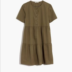 Madewell Button-Front Tiered Mini Dress AO277